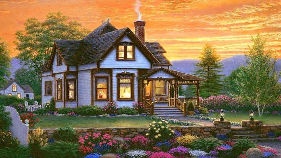 Charming cottage in natural landscape wallpaper