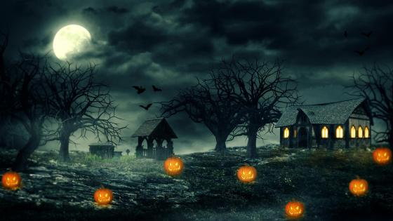 Full moon at Halloween night wallpaper