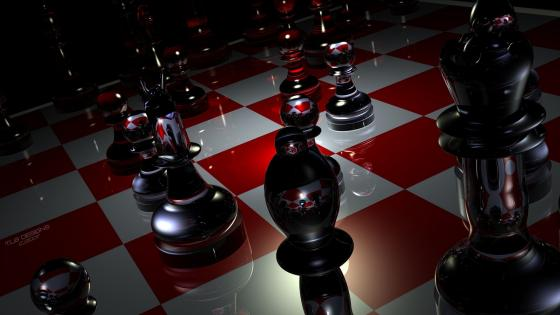 3D chess digital art wallpaper