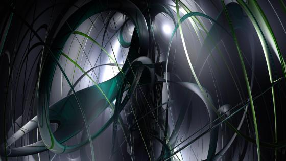 Green and grey digital art wallpaper