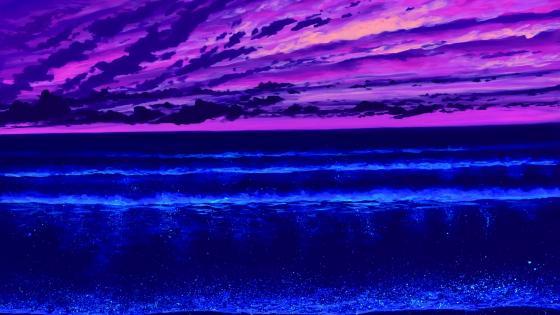 Purple horizon painting wallpaper