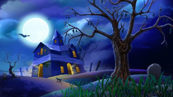 Bats hanging on a tree - Halloween art wallpaper