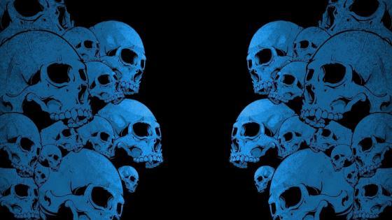 Blue skulls wallpaper