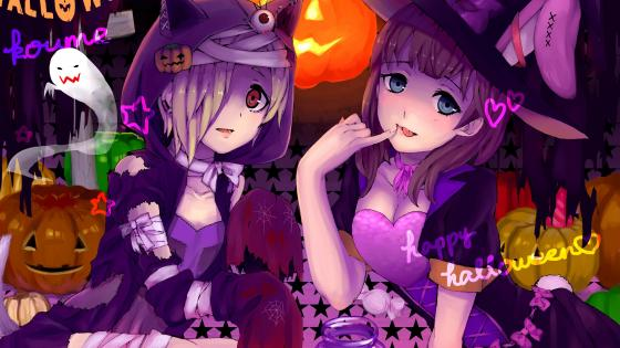 Anime witch girls at Halloween wallpaper