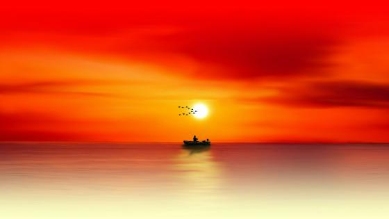 Fisherman in the sea at sunset wallpaper