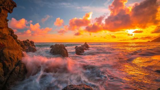 Beautiful sunset over the ocean wallpaper