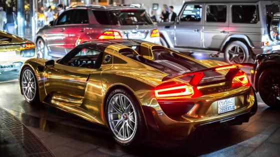 Gold Porsche 918 Spyder wallpaper