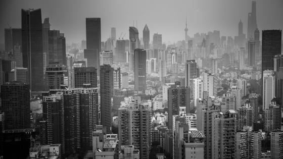 Monochrome Shanghai Skyline wallpaper