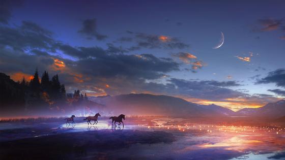 Running horses in the moonlight wallpaper
