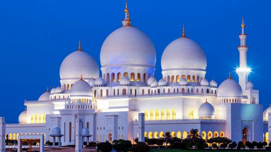 Abu Dhabi Sheikh Zayed Mosque At Night wallpaper