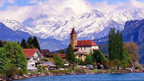 The charming Brienz village In Switzerland wallpaper