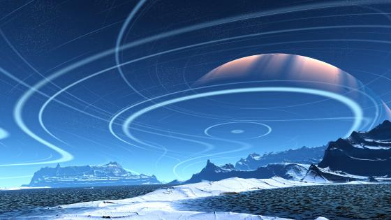 Science fiction snowy blue planet landscape wallpaper