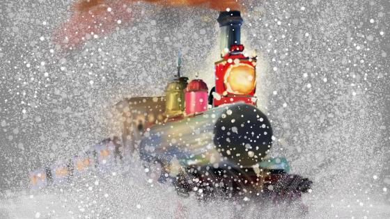 Locomotive in the snowfall Painting Art wallpaper