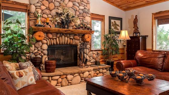 Living room with fireplace wallpaper