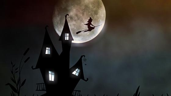 Witch on a Evil Flight wallpaper
