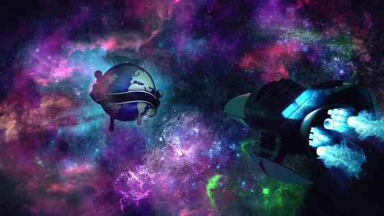 Spaceship in the colorful universe wallpaper