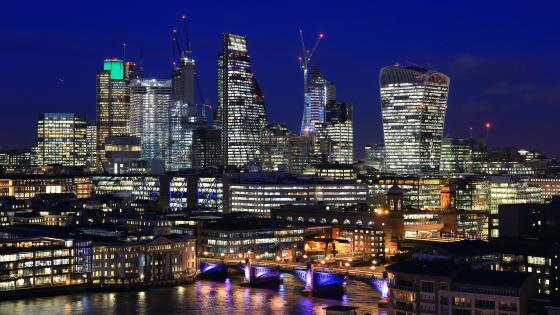 London's financial district at night wallpaper