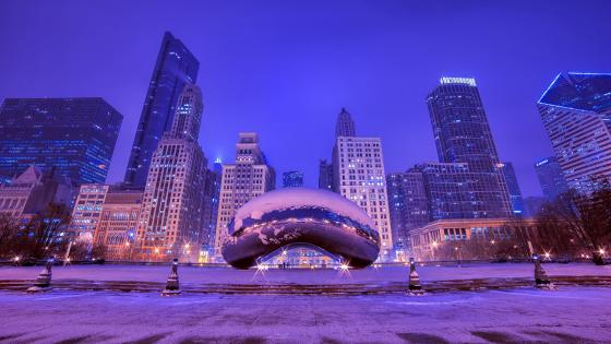 The Bean on a winter night (Millennium Park, Chicago) wallpaper