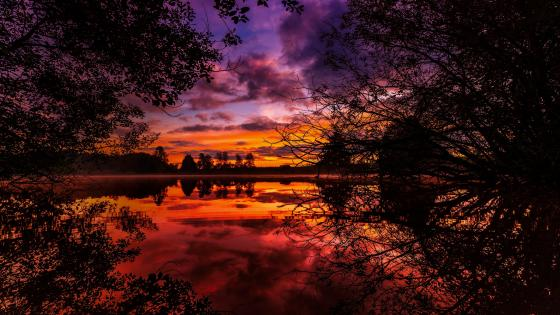 Scenic sunset reflected on lake wallpaper