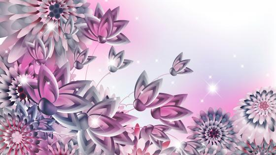 Purple flower corner pattern wallpaper