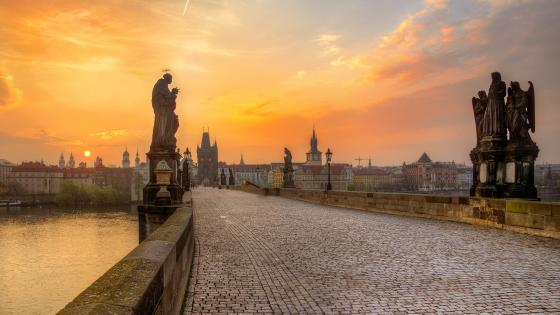 Charles Bridge in the sunset wallpaper