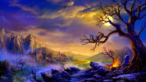 Fantasy landscape with moon wallpaper