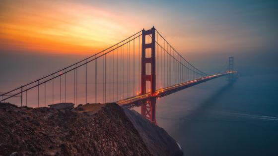 Golden Gate Bridge at sunset wallpaper
