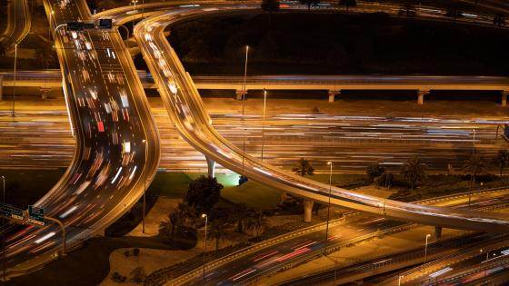Dubai Interchange at Night wallpaper
