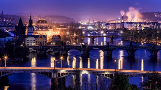 Prague's bridges at dusk wallpaper