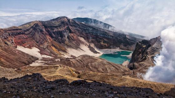 Gorely volcano crater lake wallpaper
