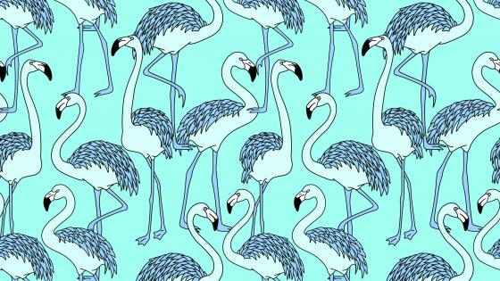 Flamingos in blue drawing wallpaper
