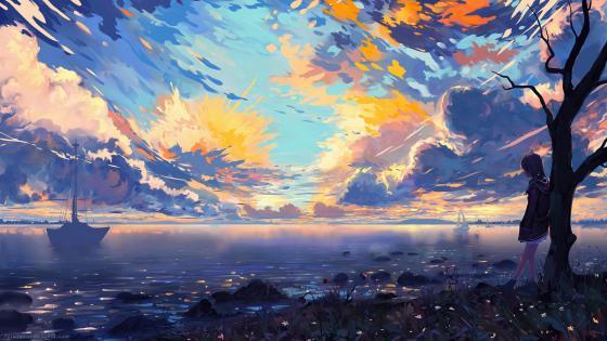 Anime landscape painting wallpaper