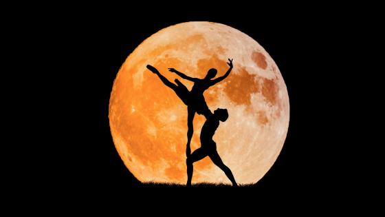 Ballet dancers in the full moon wallpaper