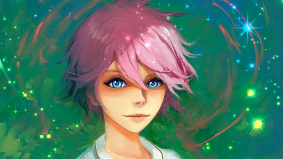 Anime girl with pink short hair and blue eyes wallpaper