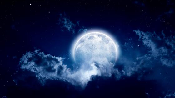 Full moon in the night sky wallpaper