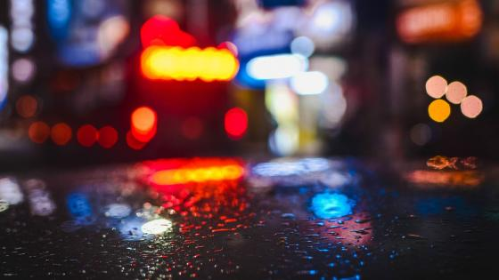 Bokeh rain reflection wallpaper