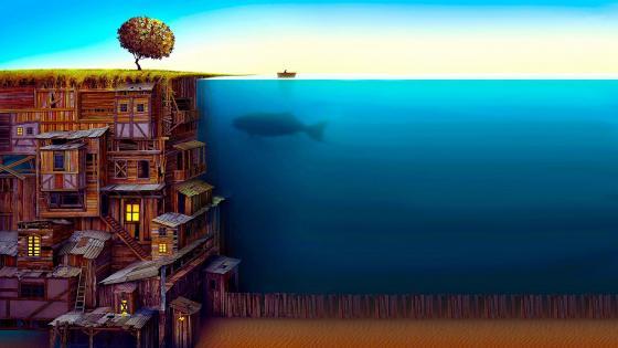 Fantasy Underwater City wallpaper