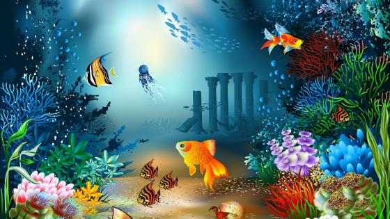 Underwater sealife illustration wallpaper