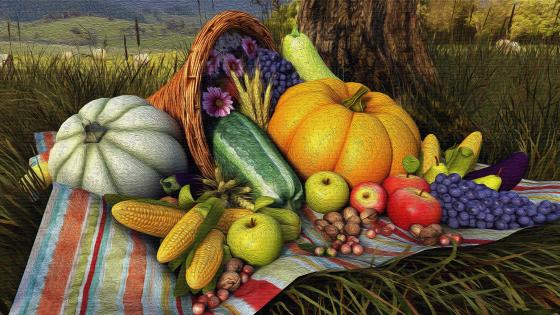 Tanksgiving Food Artsistic Painting wallpaper