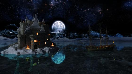 Fantasy castle in the full moon wallpaper