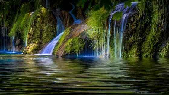 Waterfall painting photo effect wallpaper