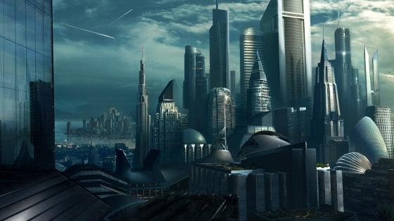 Futuristic skyscrapers wallpaper