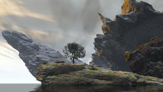 Digital rocky landscape wallpaper