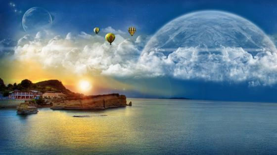 Air balloons and planets wallpaper
