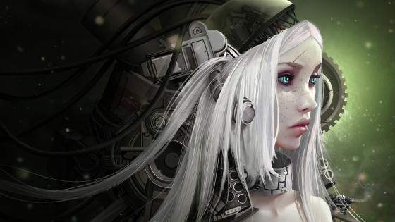 Cyberpunk girl artwork wallpaper