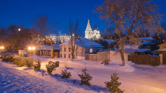 Suzdal and the Cathedral of the Nativity in the distance wallpaper