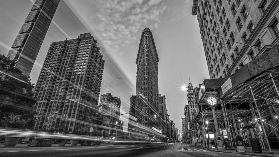Flatiron Building Long Exposure Monochrome Photo wallpaper