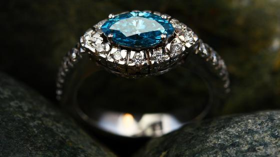Blue diamond gem Ring wallpaper