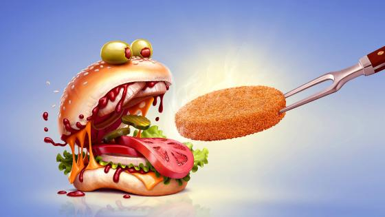 Chicken burger with tomatoes  and olives wallpaper