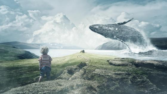 Child and whale fantasy art wallpaper